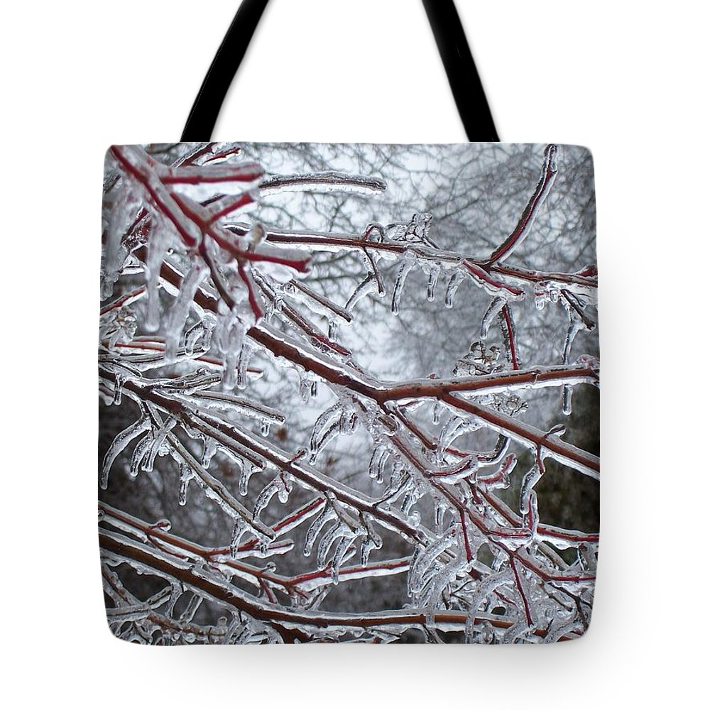Ice Tote Bag featuring the photograph Crisp Pt2 by Maria Manna