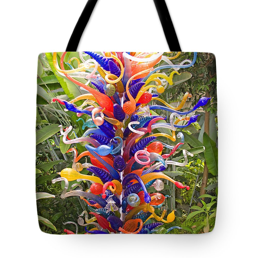 Flowers Tote Bag featuring the painting Cristal Garden 2 by Manuel Lopez