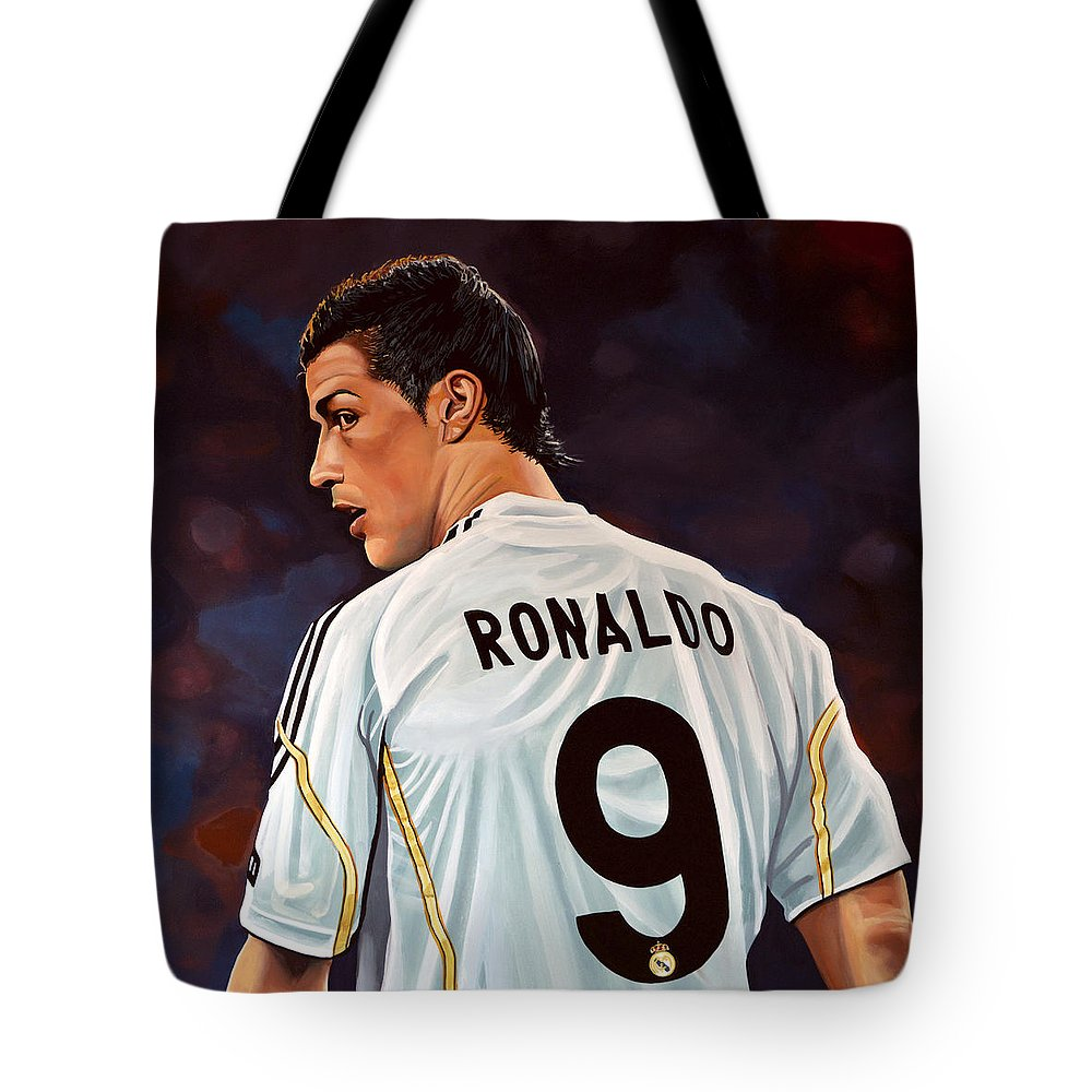 Real Madrid Tote Bag featuring the painting Cristiano Ronaldo by Paul Meijering