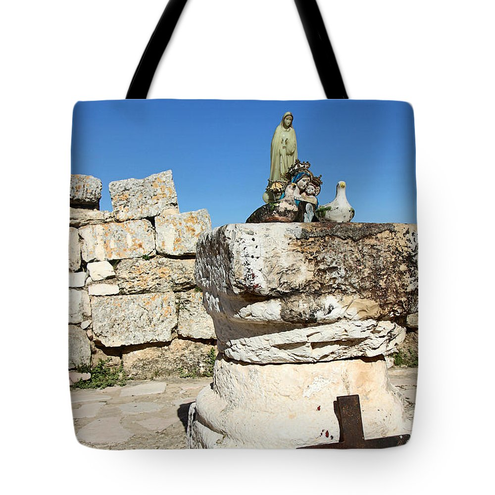 Cross Tote Bag featuring the photograph Cross At St. George Ruins by Munir Alawi