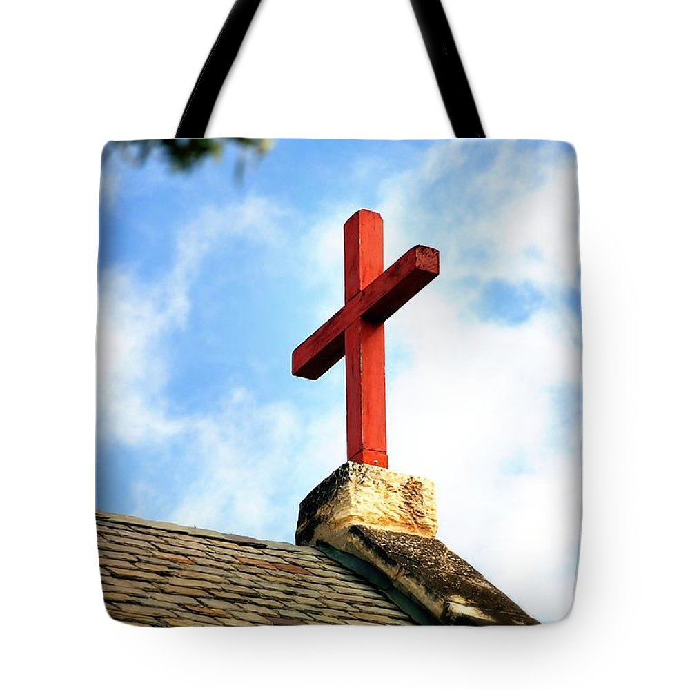 Cross Tote Bag featuring the photograph Cross Church Roof by Henrik Lehnerer
