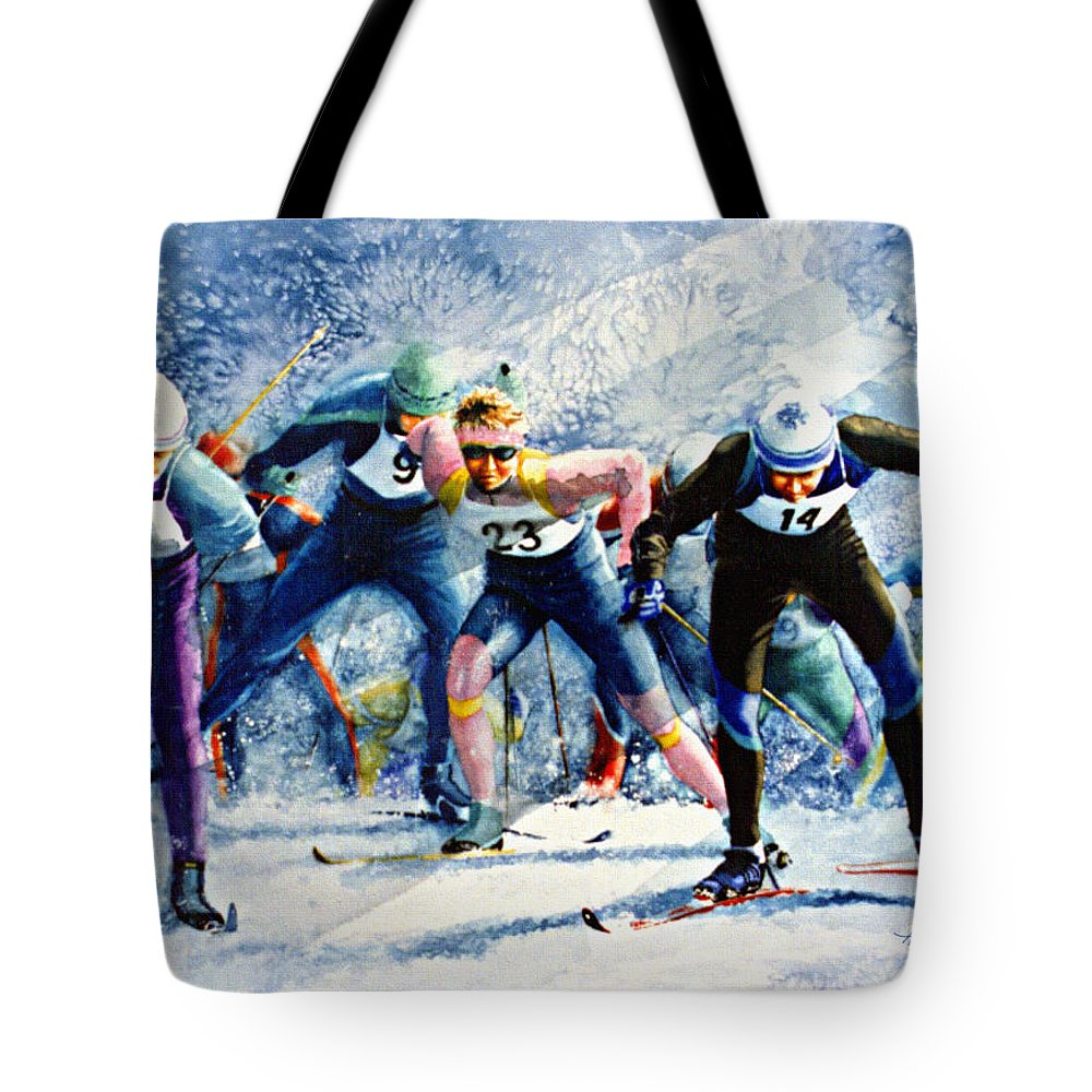 X-country Skiing Tote Bag featuring the painting Cross-country Challenge by Hanne Lore Koehler