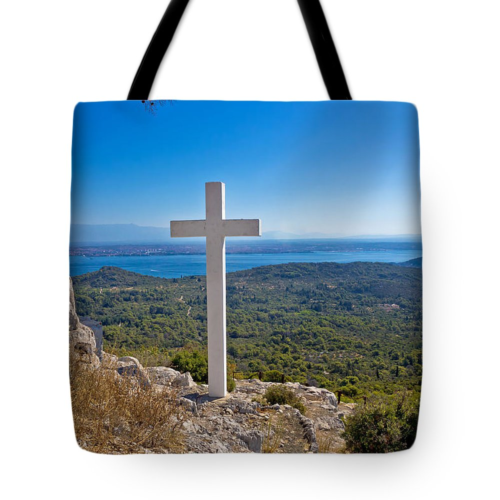 Nature Tote Bag featuring the photograph Cross Overlooking Islands Of Croatia by Brch Photography