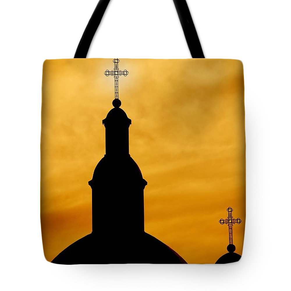 Christianity Tote Bag featuring the photograph Crosses On Steeples by Con Tanasiuk
