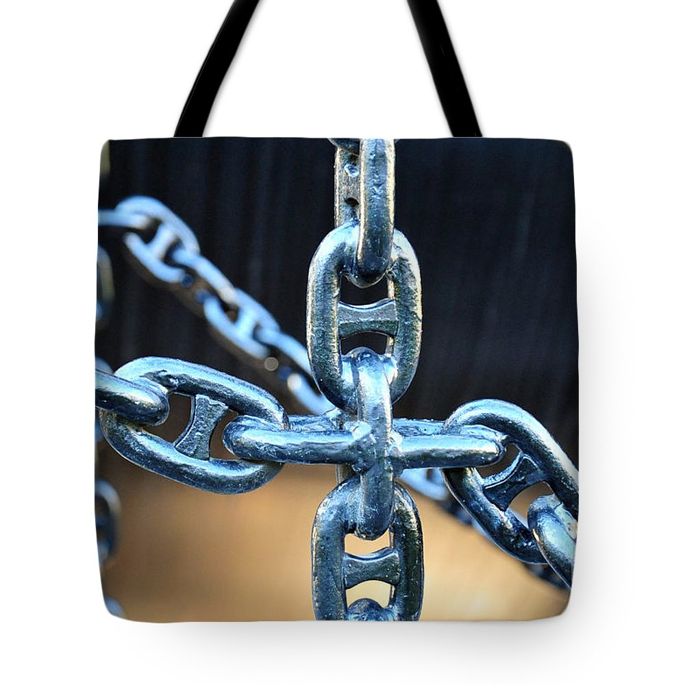 Chain Tote Bag featuring the photograph Crossing Chains by Randi Grace Nilsberg