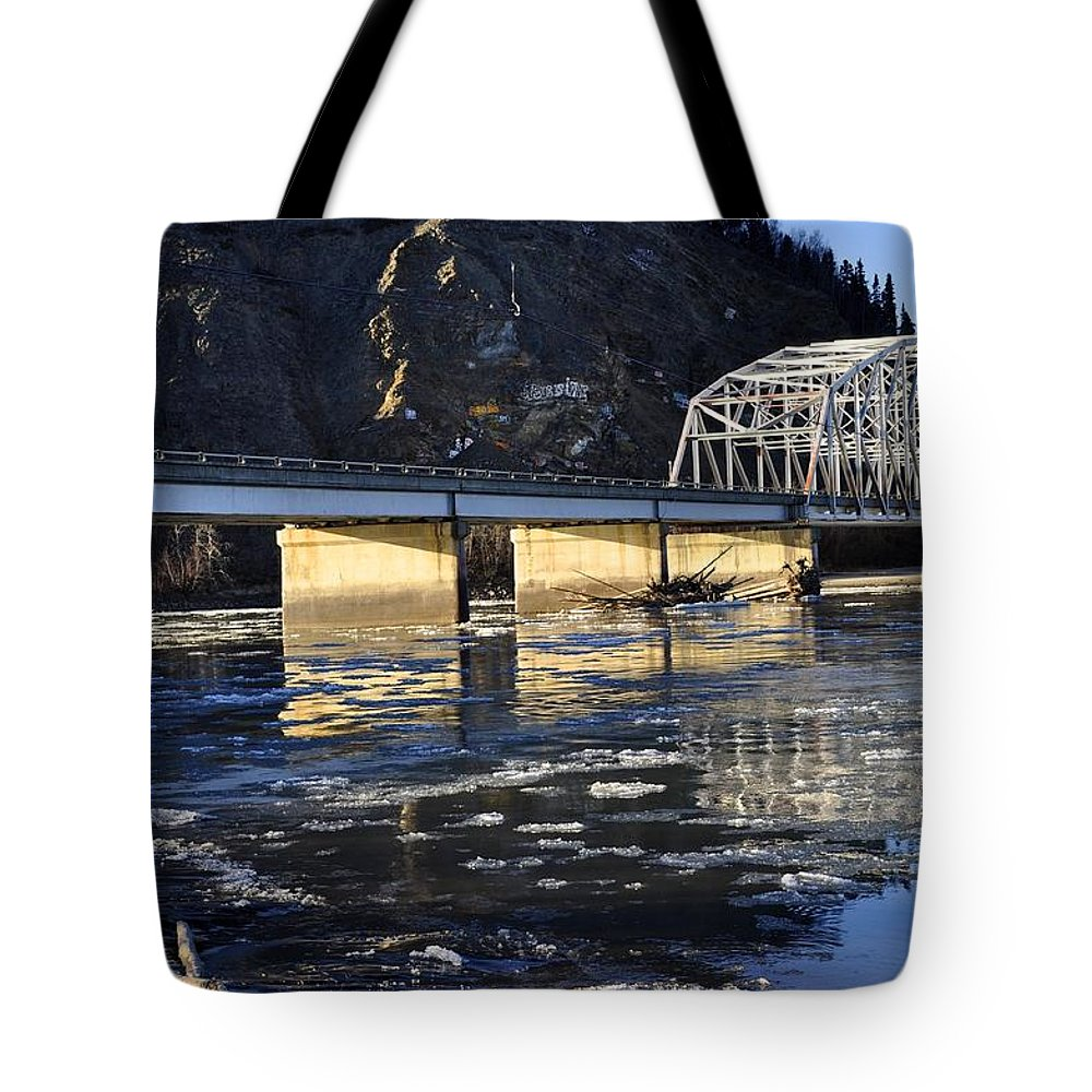 Bridge Tote Bag featuring the photograph Crossing The Tanana River by Cathy Mahnke