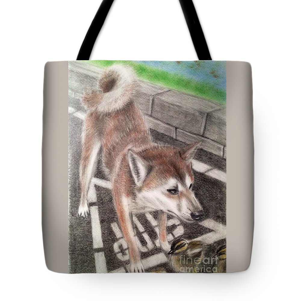 Shiba Dog Tote Bag featuring the drawing Crossroad by Keiko Olds