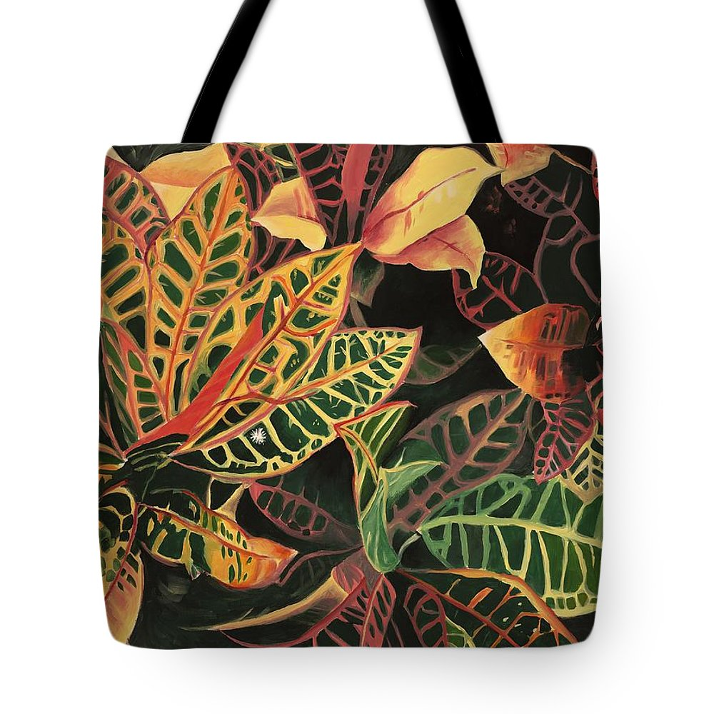 Croton Leaves Tote Bag featuring the painting Croton Leaves by Judy Swerlick