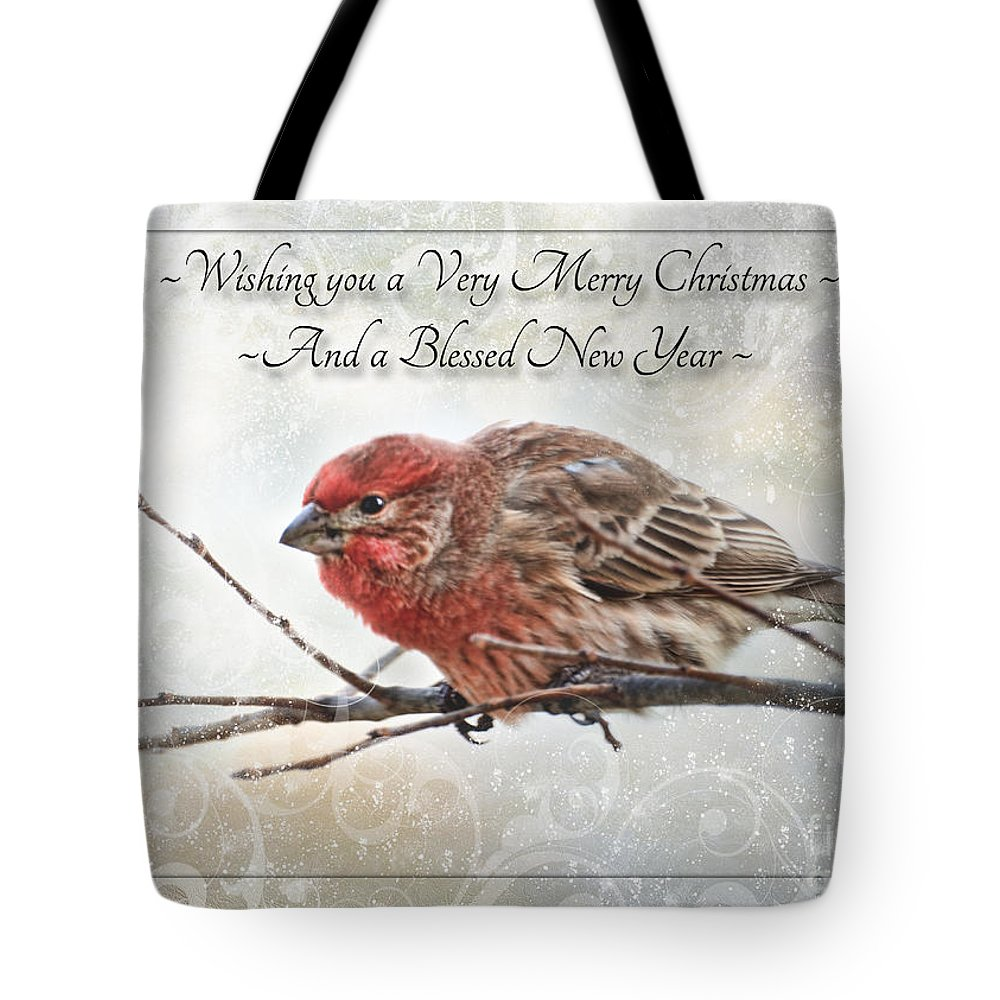 Animals Tote Bag featuring the photograph Crouching Finch Christmas Greeting Card by Debbie Portwood