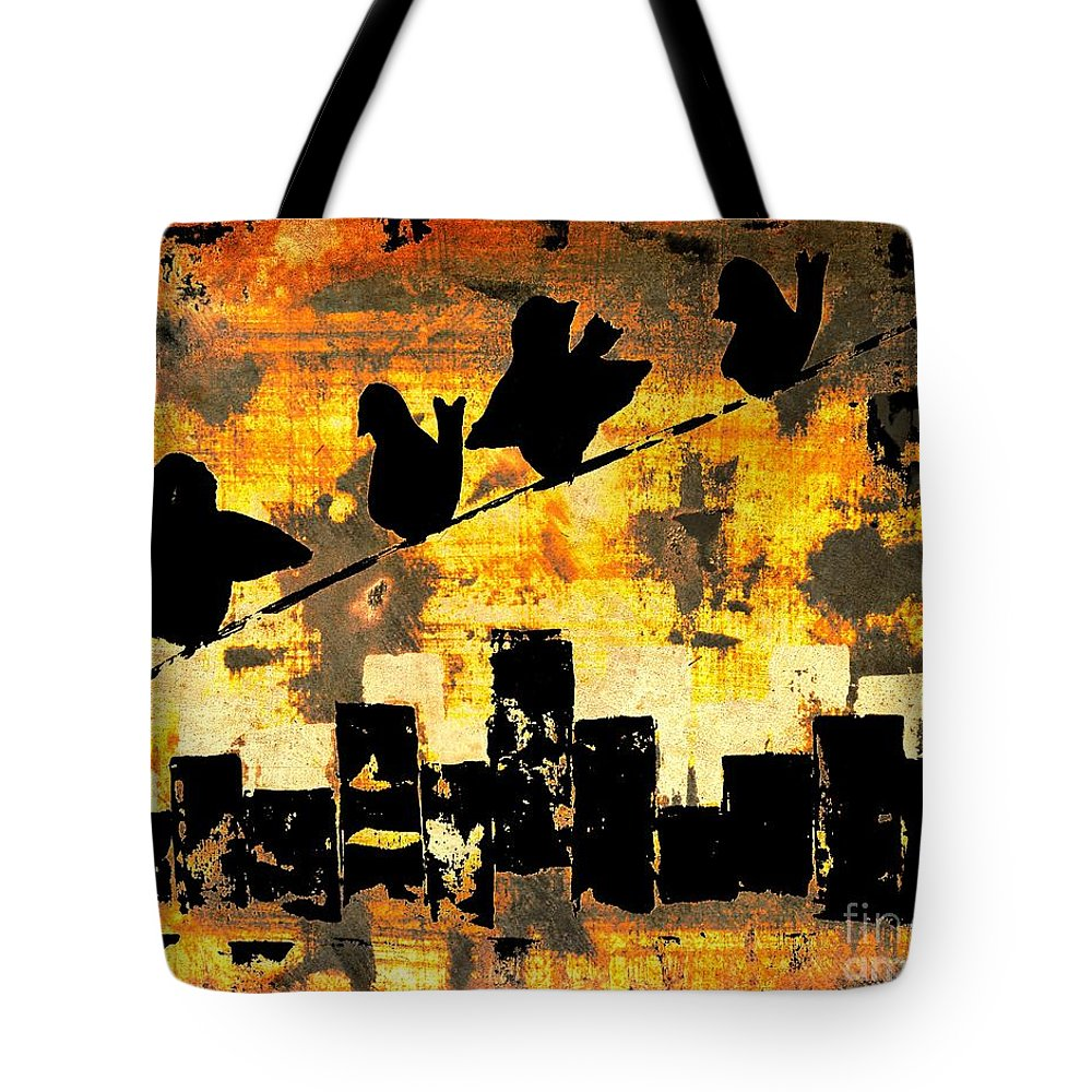 Crow Wire Tote Bag featuring the painting Crow by Denise Tomasura