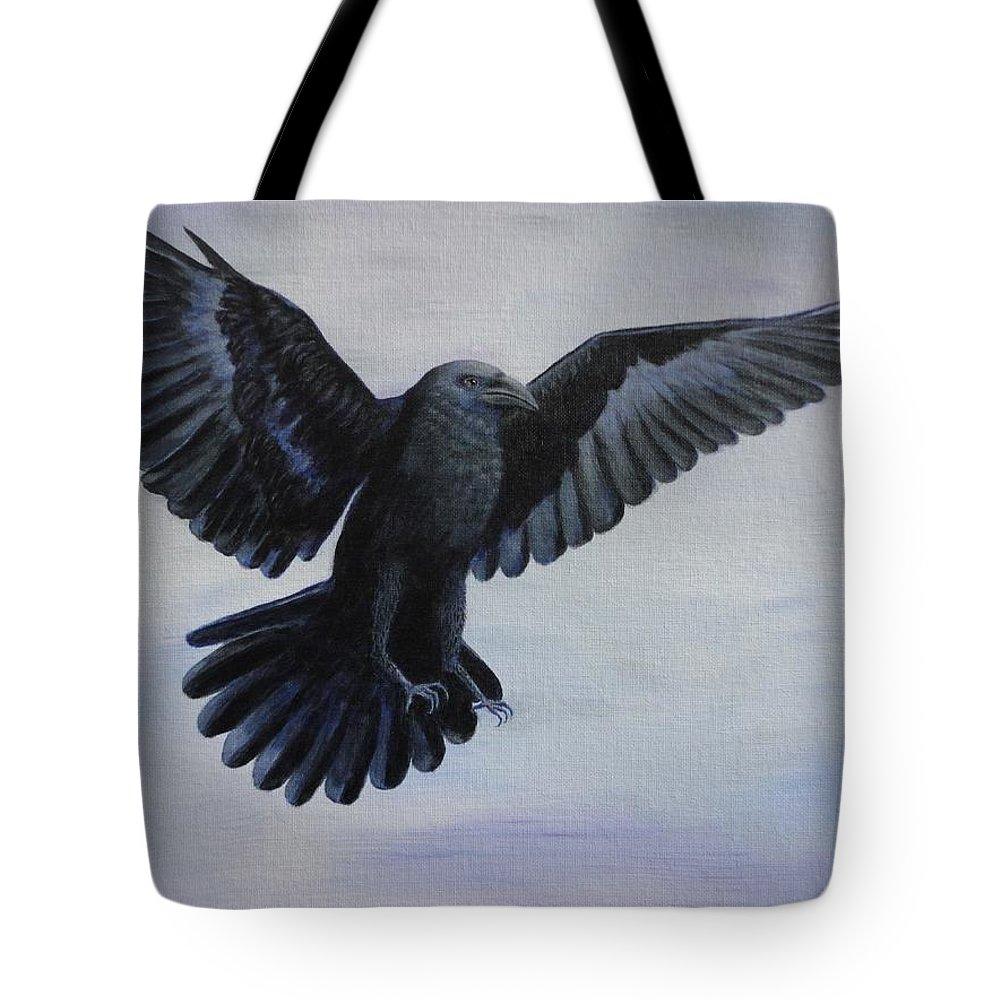 Xochi Hughes Madera Tote Bag featuring the painting Crow Flight by Xochi Hughes Madera