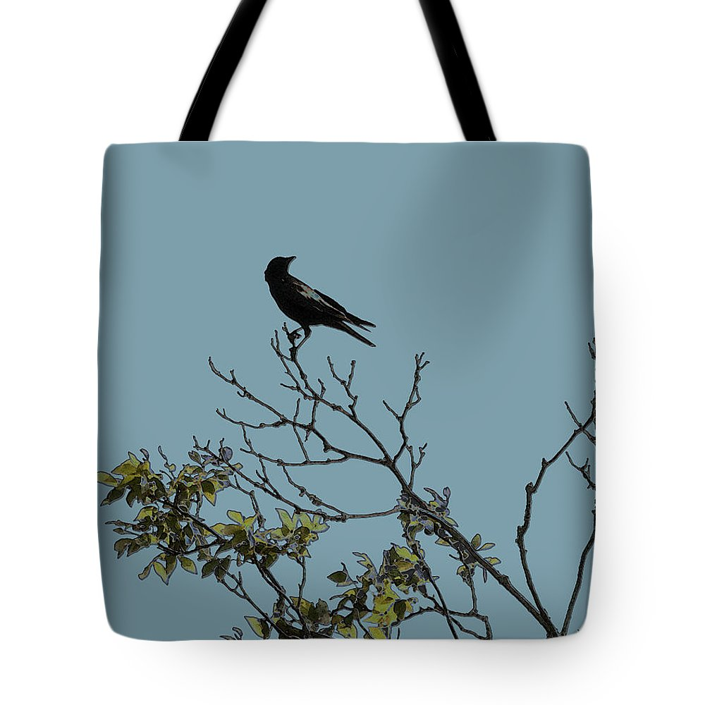 Crow Tote Bag featuring the photograph Trickster Watch by Dora Hembree