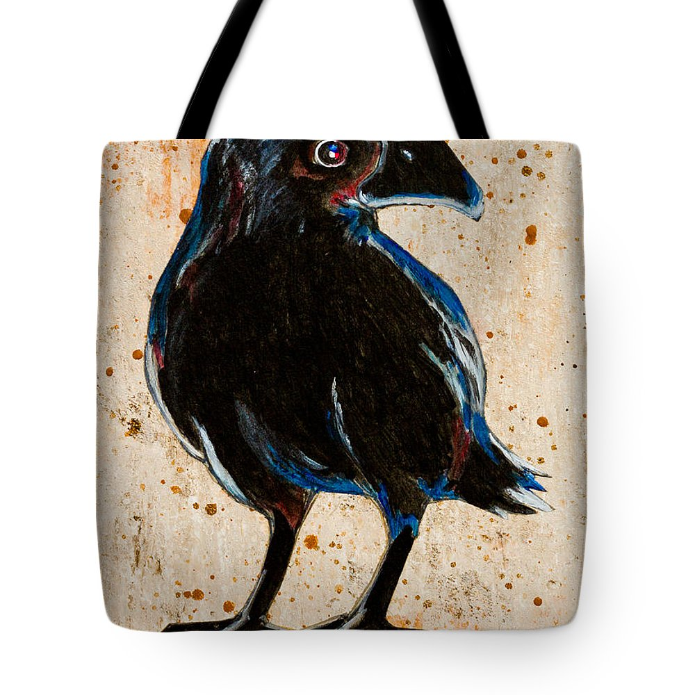 Brown Tote Bag featuring the painting Crow by Stefanie Forck