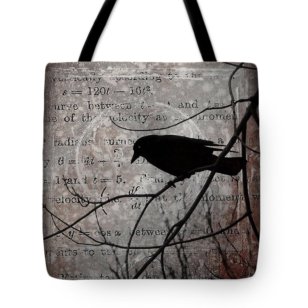 Gray Tote Bag featuring the digital art Crow Thoughts Collage by Gothicrow Images