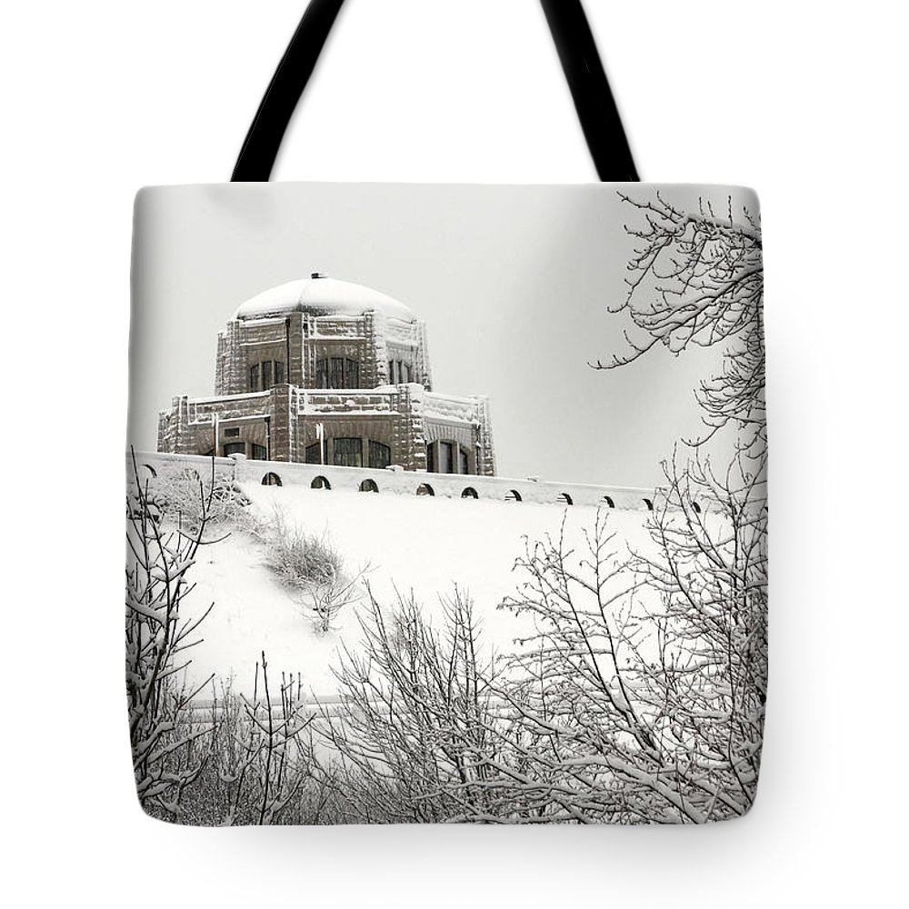 Crown Point From Below Tote Bag featuring the photograph Crown Point From Below by Wes and Dotty Weber