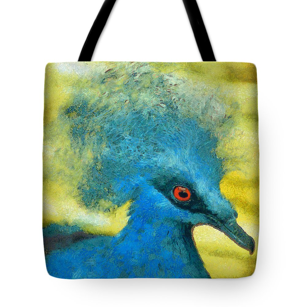 Rossidis Tote Bag featuring the painting Crowned Pigeon by George Rossidis