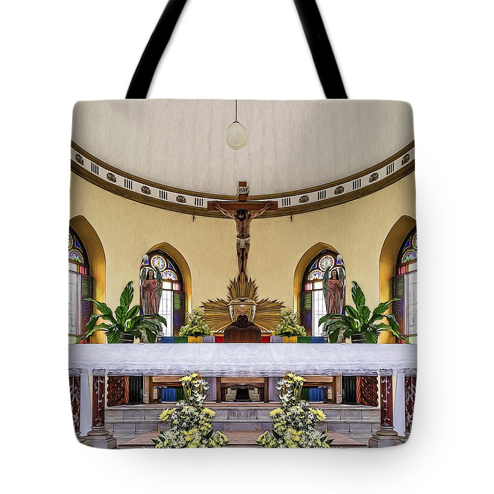 Altar Tote Bag featuring the photograph Crucifix And Angels by Maria Coulson