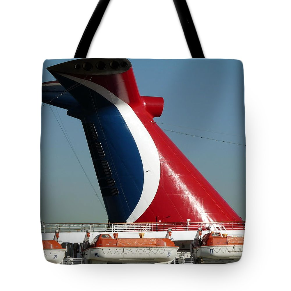 b6366c60e0e8 Cruise Ship Tote Bag featuring the photograph Cruise Ship Exhaust Stack by  Jeff Lowe