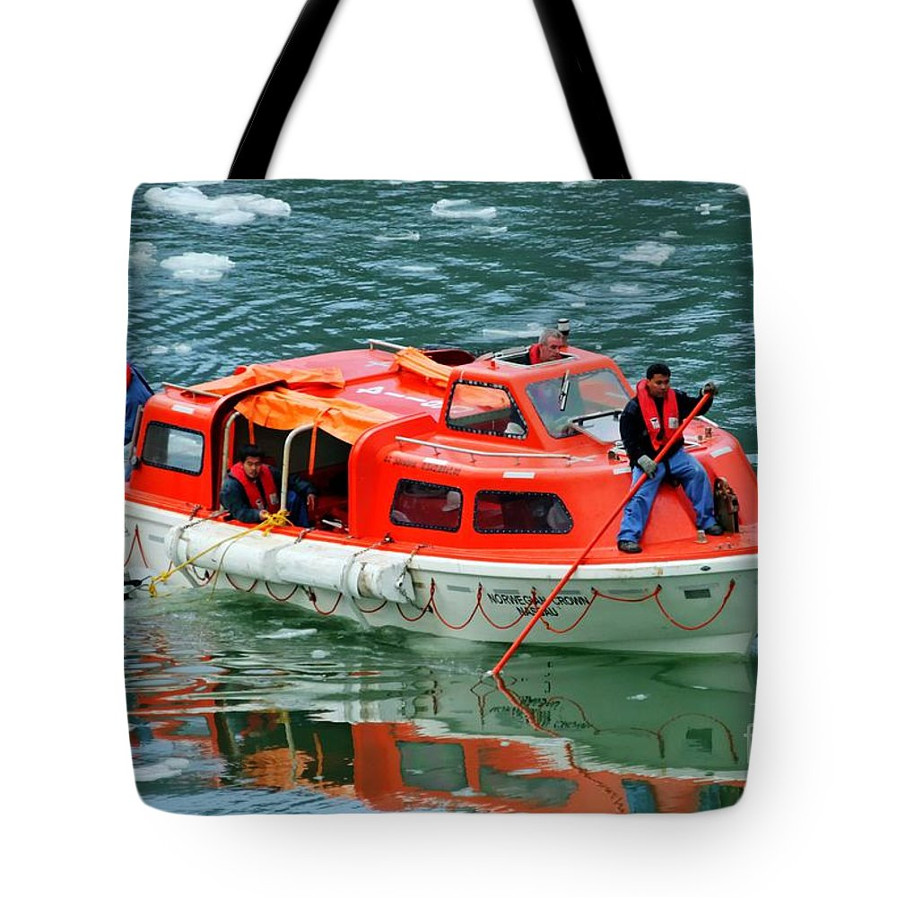 26f8859ab00b Cruise Tender Tote Bag featuring the photograph Cruise Ship Tender Boat by  Tap On Photo