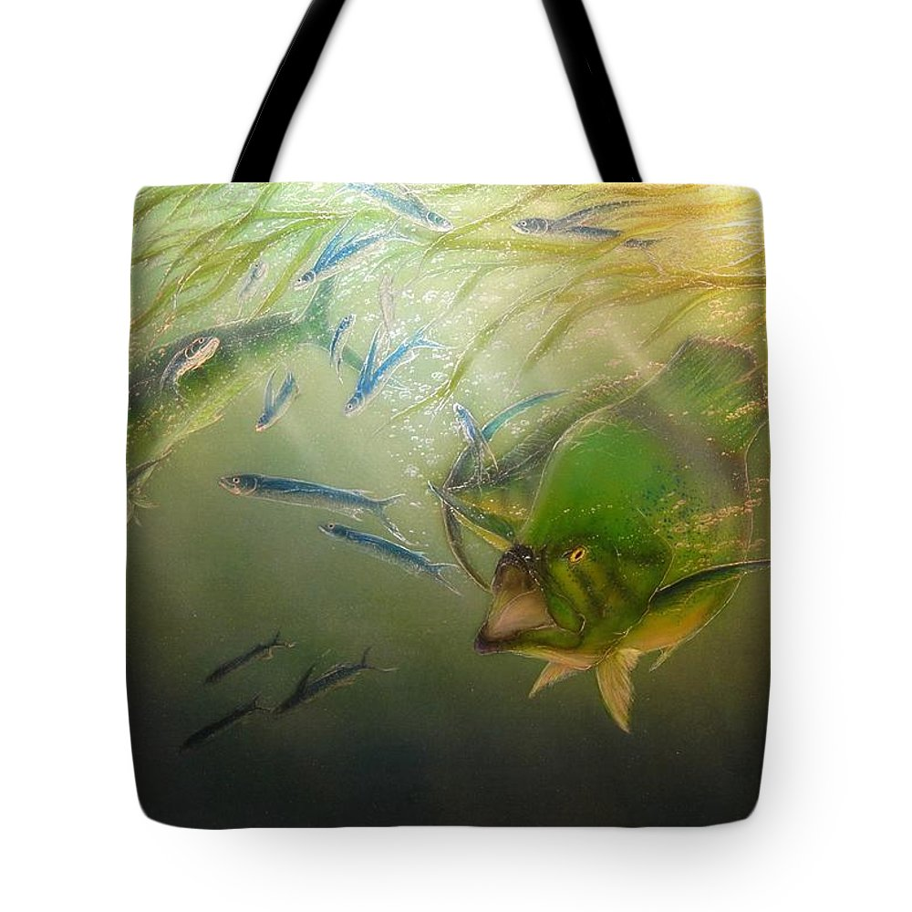 Mahi Fine Art Paintings Tote Bag featuring the painting Cruising The Trash Line by Hank Bufkin