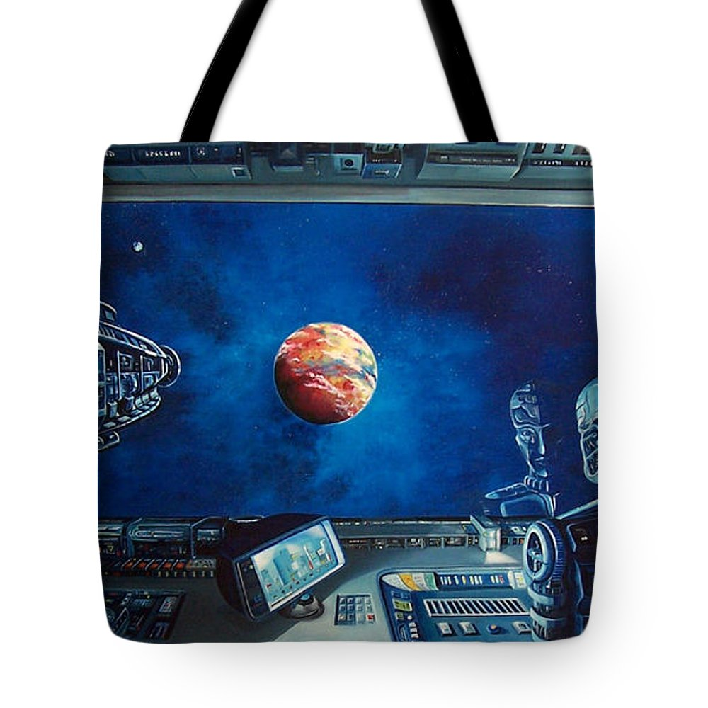 Fantasy Tote Bag featuring the painting Crying Robot by Murphy Elliott