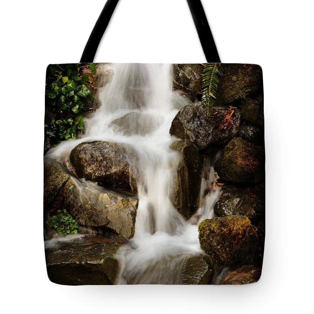 Waterfall Tote Bag featuring the photograph Crystal Cataract by Sally Bauer
