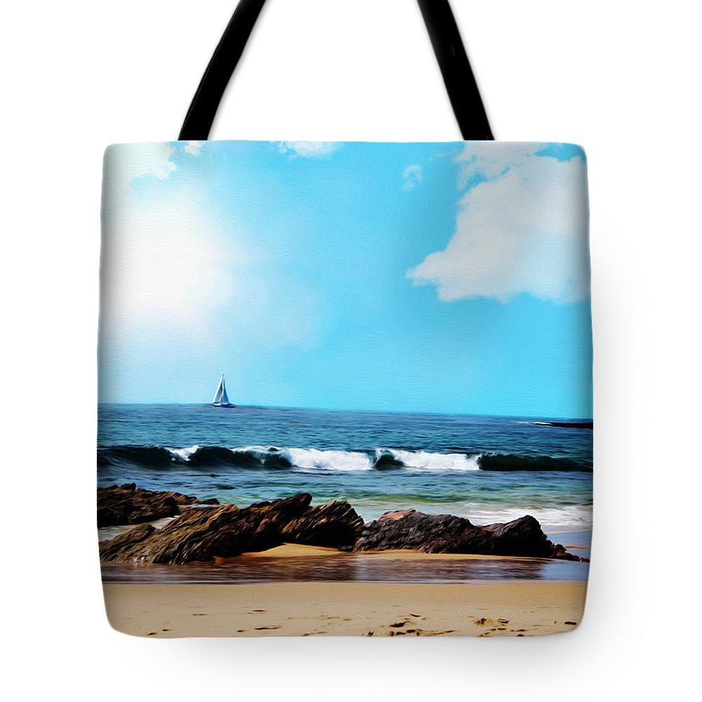 Beach Tote Bag featuring the digital art Crystal Cove by Tanya Cordy