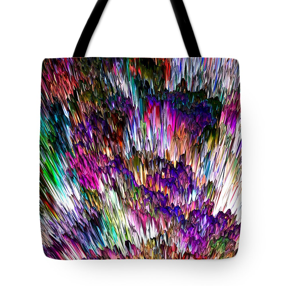 Abstract Tote Bag featuring the digital art Crystalline Crimsonicity by Richard Thomas