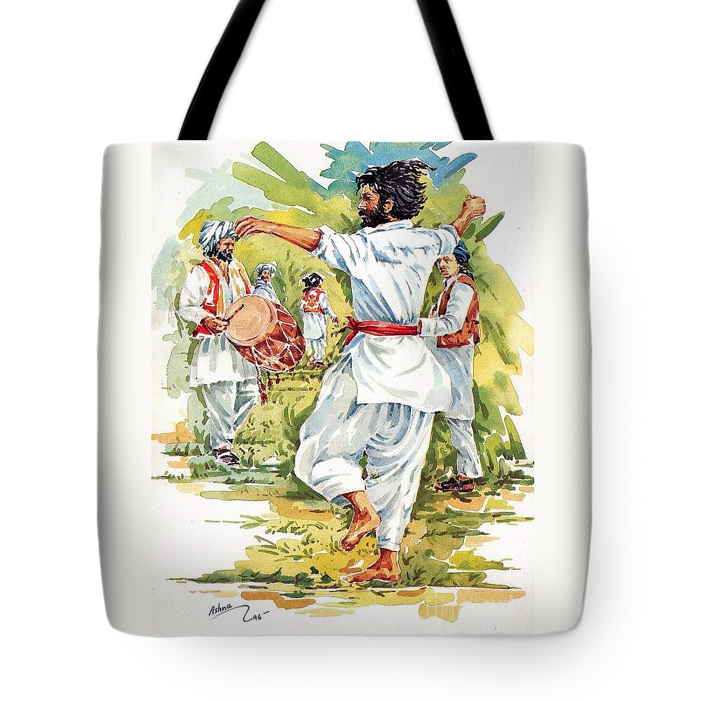 Attan Tote Bag featuring the painting Cultural Dance Of Afghanistan Attan by Hafiz Ashna