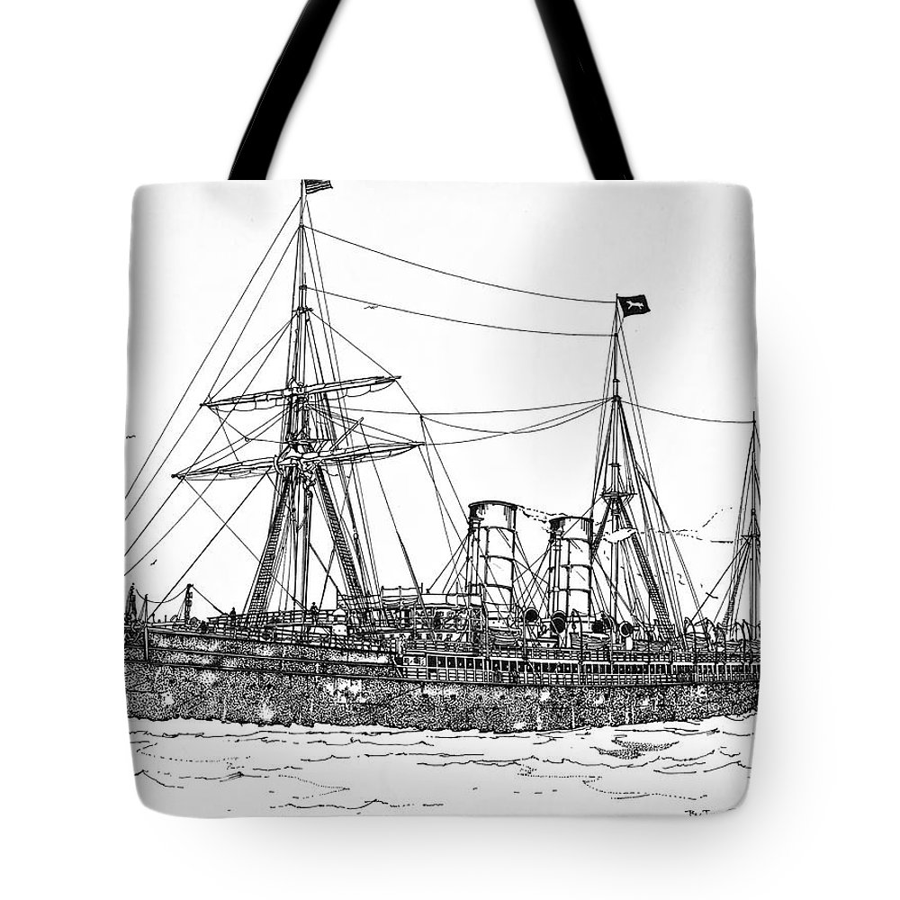Rms Umbria Tote Bag featuring the drawing Cunard Liner Umbria 1880's by Ira Shander