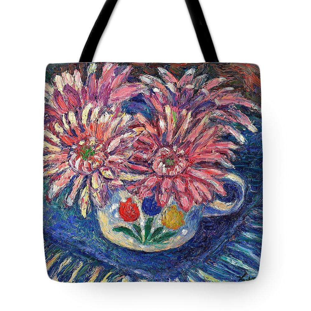 Kendall Kessler Tote Bag featuring the painting Cup of Flowers by Kendall Kessler