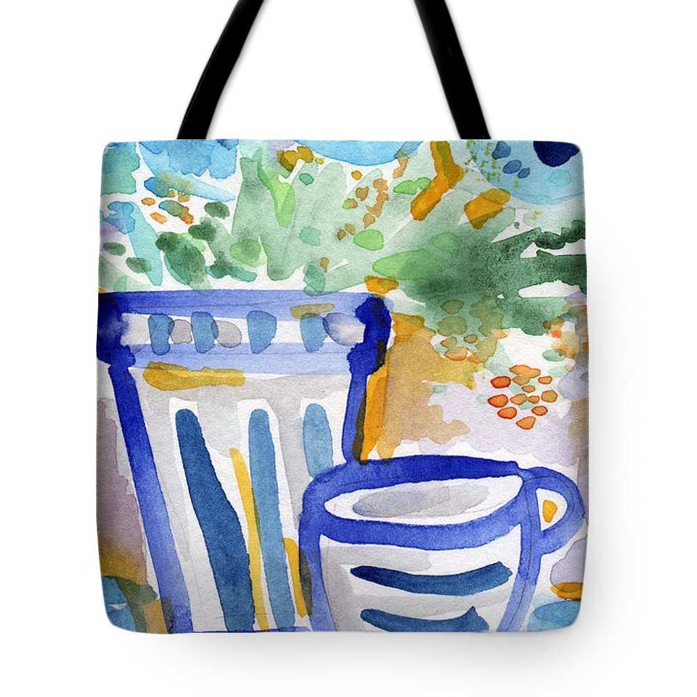 Blue And White Tote Bag featuring the painting Cups And Flowers- Watercolor Floral Painting by Linda Woods
