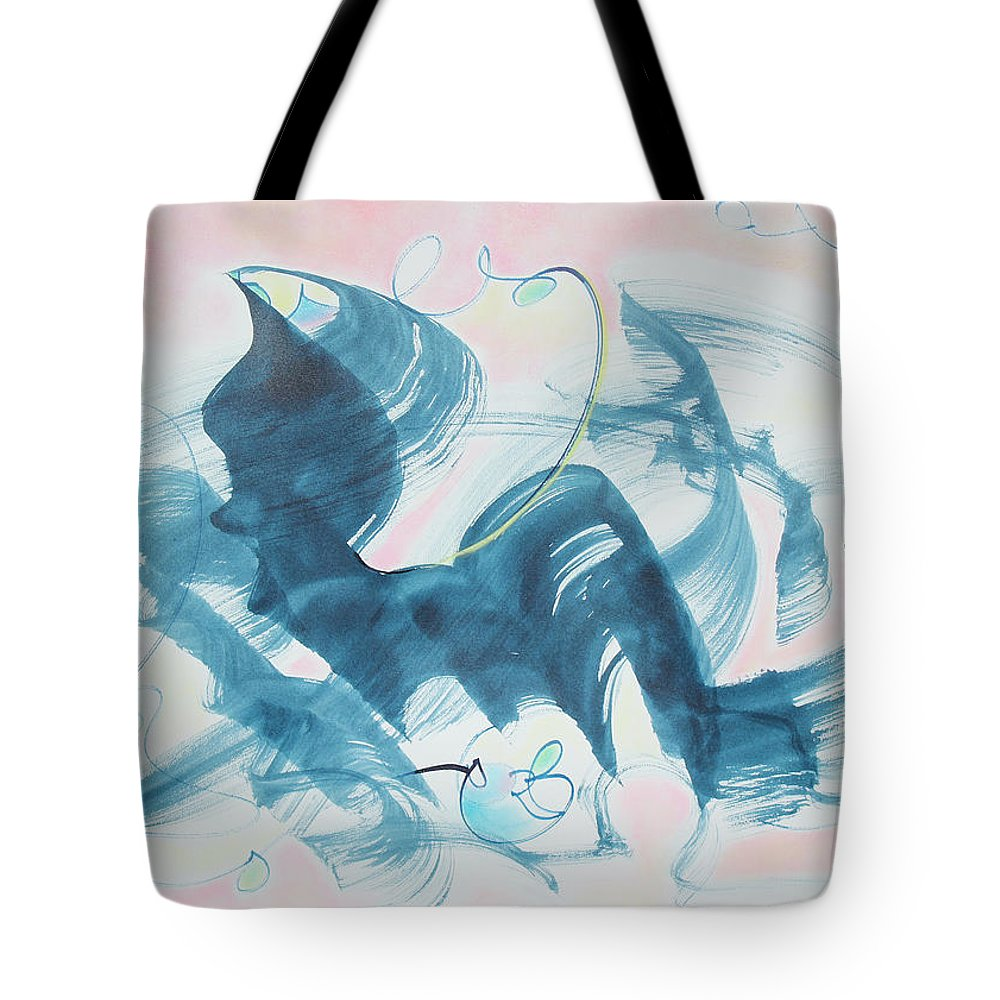 Abstract Painting Tote Bag featuring the painting Curiosity Finds The Cat by Asha Carolyn Young