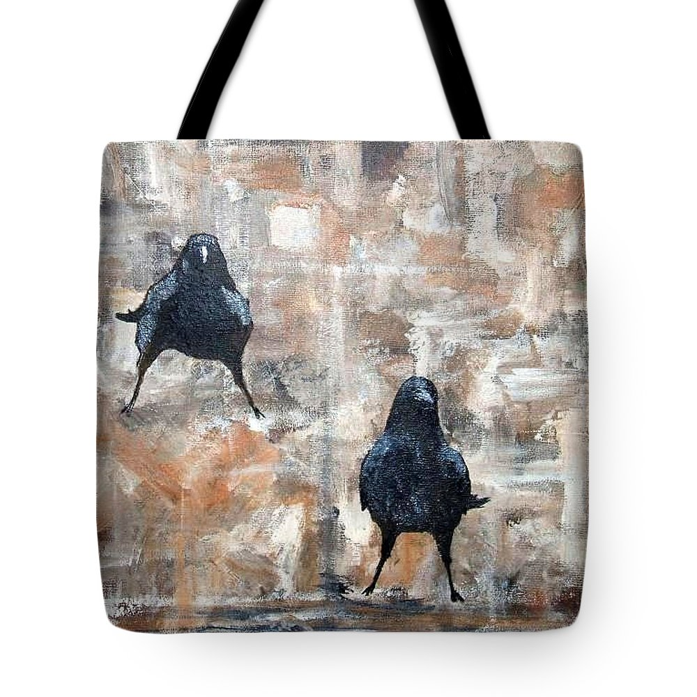 Crows Tote Bag featuring the painting Curious Crows by Kathy Sampson