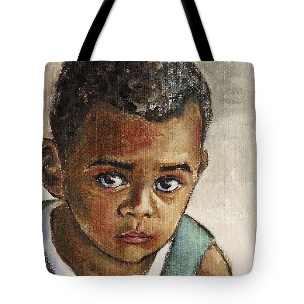 Boy Tote Bag featuring the painting Curious Little Boy by Xueling Zou