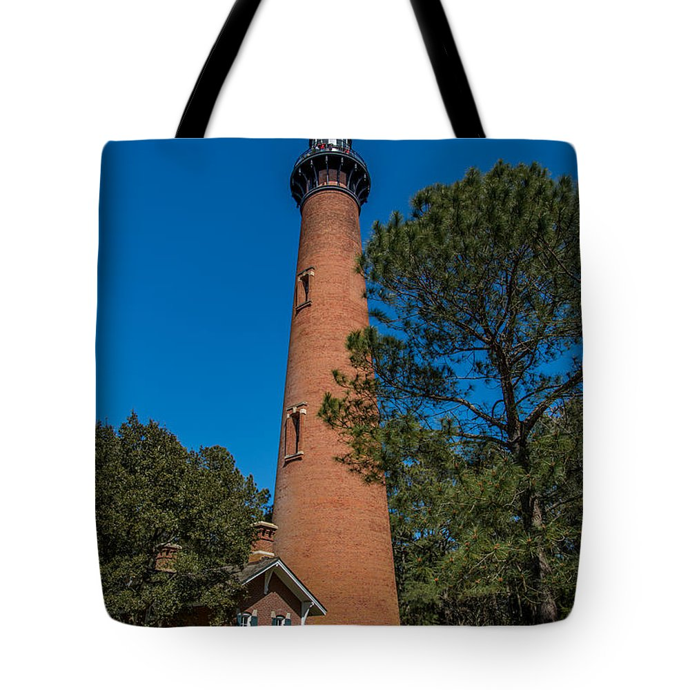 Currituck Tote Bag featuring the photograph Currituck Lighthouse by Stacy Abbott