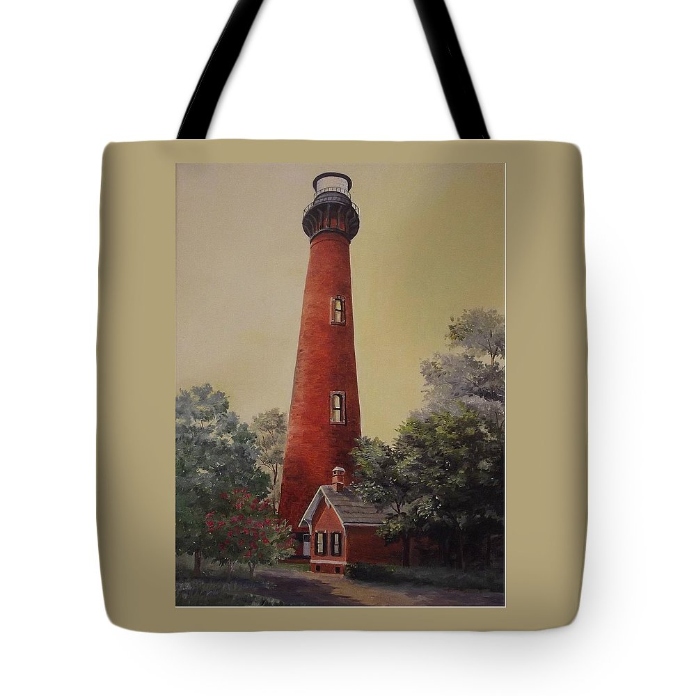 Lighthouse Tote Bag featuring the painting Currituck Lighthouse by Wanda Dansereau