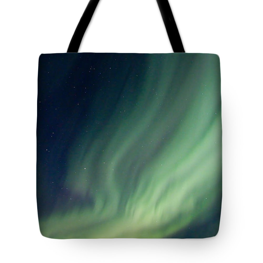 Aurora Borealis Tote Bag featuring the photograph Curtain Whispers by Ed Boudreau