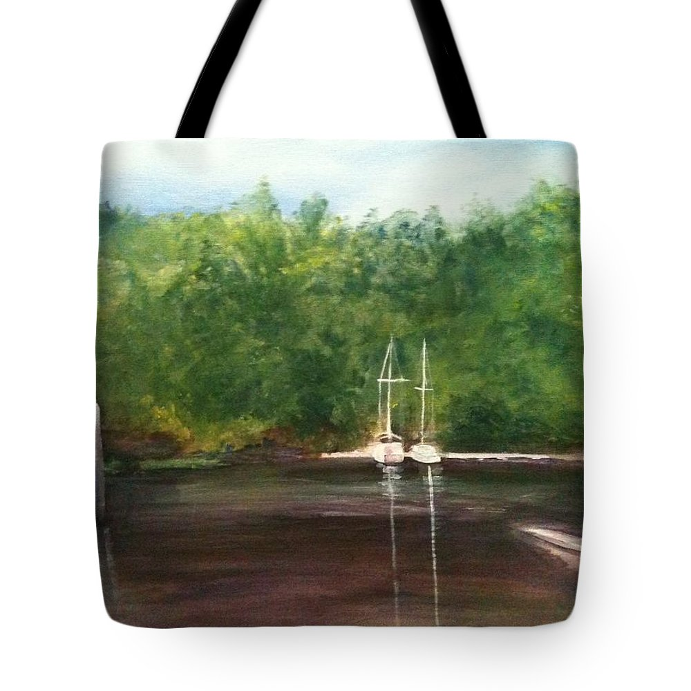 Plein Aire Tote Bag featuring the painting Curtain's Marina by Sheila Mashaw