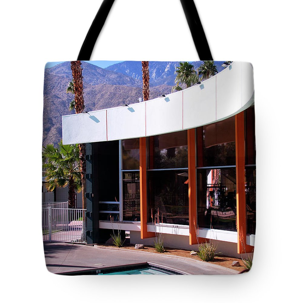 Pool Tote Bag featuring the photograph Curves Ahead Ocotillo Lodge Palm Springs by William Dey