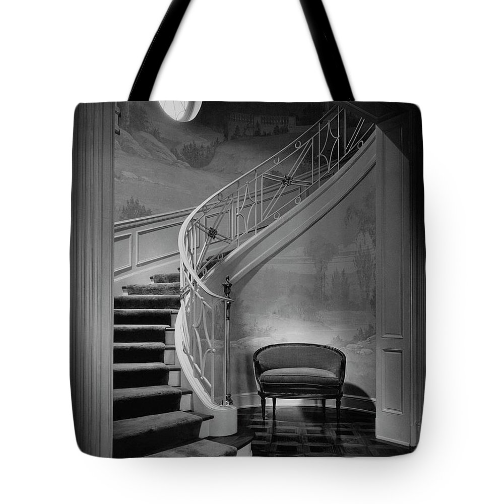 Interior Tote Bag featuring the photograph Curving Staircase In The Home Of W. E. Sheppard by Maynard Parker