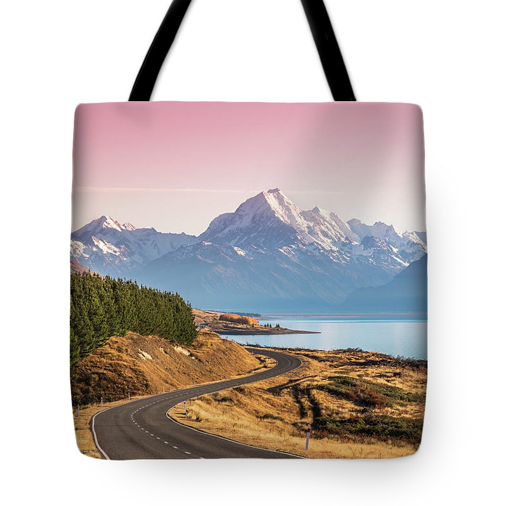Tranquility Tote Bag featuring the photograph Curvy Road Leading To Mt Cook Aoraki At by Matteo Colombo