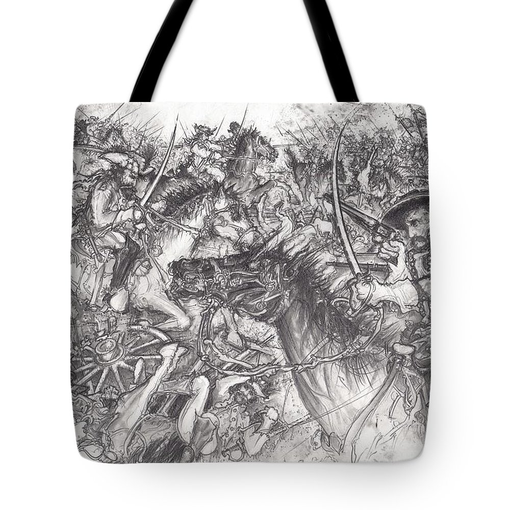 Gettysburg Tote Bag featuring the drawing Custer's Clash by Scott and Dixie Wiley