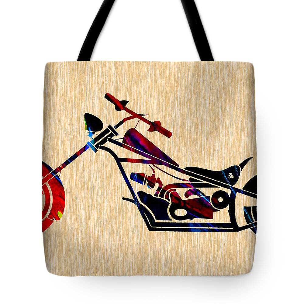 Motorcycle Tote Bag featuring the mixed media Custom Chopper by Marvin Blaine