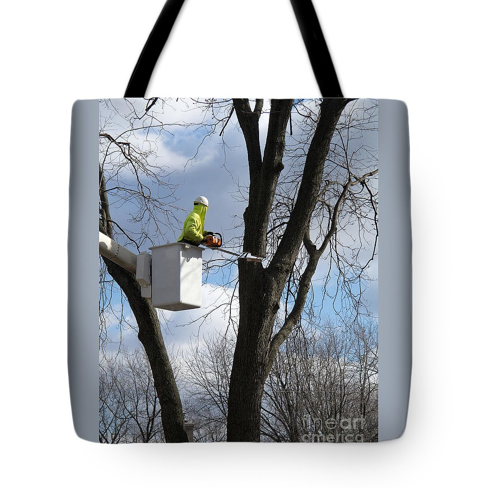 Tree Tote Bag featuring the photograph Cut Complete by Ann Horn