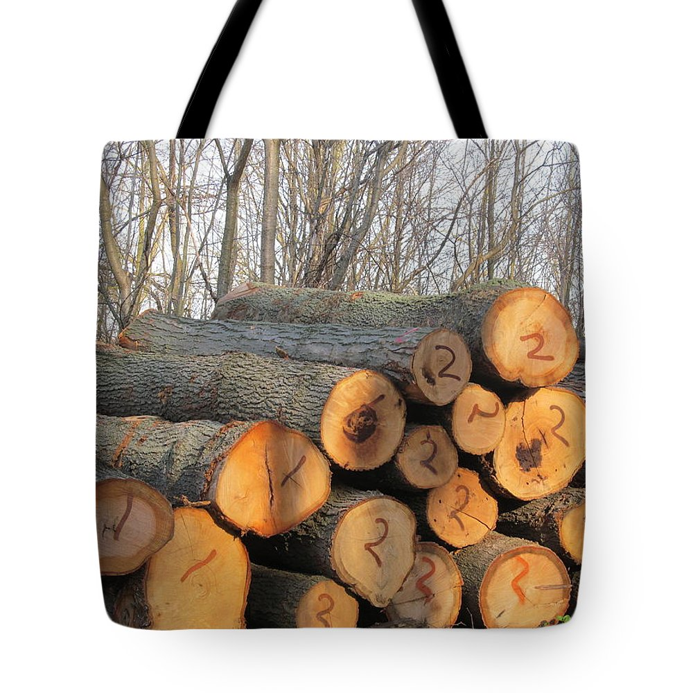 Log Tote Bag featuring the photograph Cut Logs by Tina M Wenger