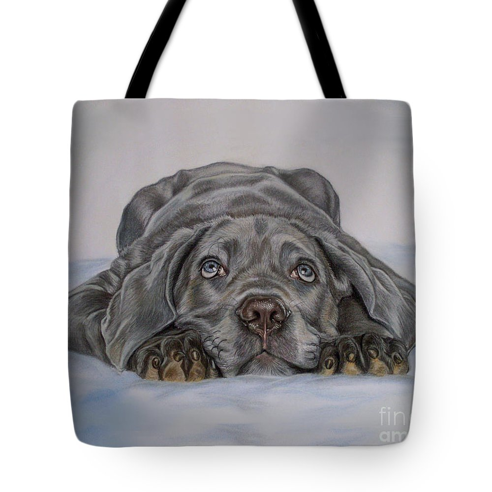 Puppy Tote Bag featuring the painting Cute by Irisha Golovnina