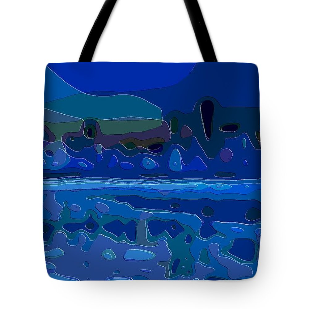 Cut-art-art Tote Bag featuring the digital art Cutout Art Blue Landscape by Mary Clanahan