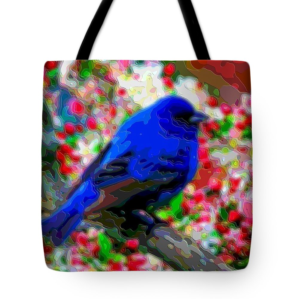 Blue-bird Tote Bag featuring the digital art Cutout Layer Art Animal Portrait Bird Blue by Mary Clanahan