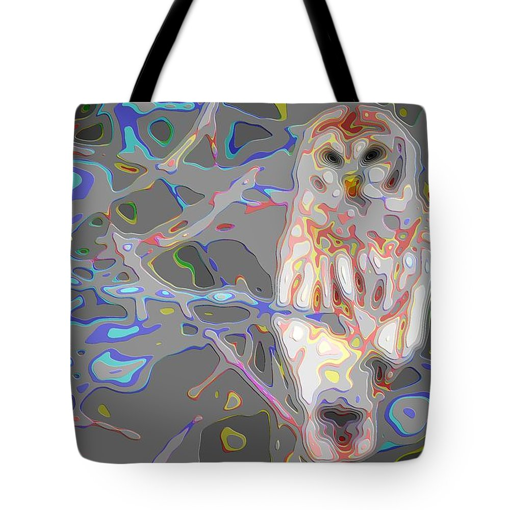 Animal-art Tote Bag featuring the digital art Cutout Layer Art Animal Portrait Bird Owl White by Mary Clanahan